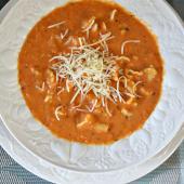 Receta de Saladmaster - Sopa de Parmesano, Albahaca y Tomate