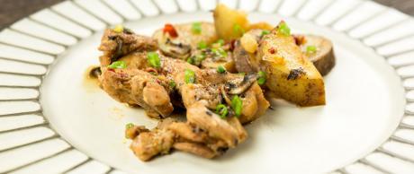 chicken, spicy, potatoes, Korean