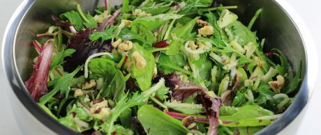 salad, green apple, walnut, greens, vinegar, orange juice,