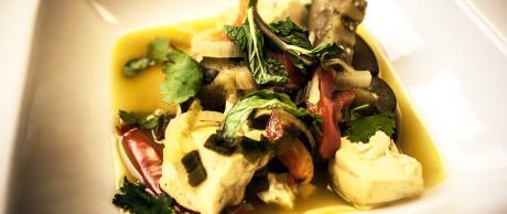 Tofu y Berenjena en Salsa de Coco y Curry