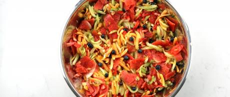 fruit salad, food processor, watermelon, cantaloupe, strawberries, salad, berries, orange