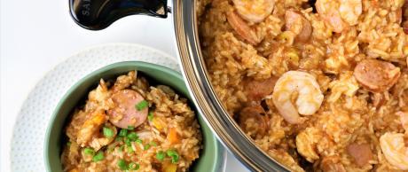 rice, cajun, chicken, sausage, shrimp