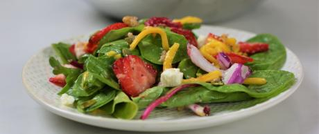 salad, strawberries, mango, greens, side dish, healthy