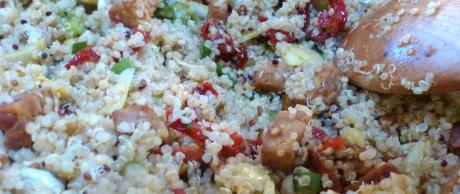 Quinoa con Alcachofas y Pesto