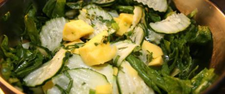 Receta Saladmaster Ensalada de Espinacas, Pepino y Mango